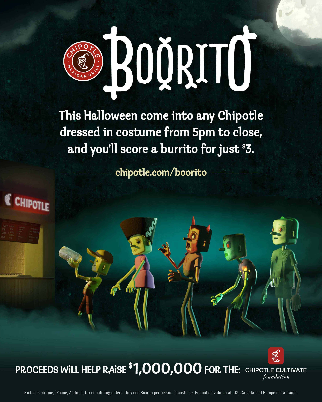 Chipotle Burritos Halloween  CHIPOTLE CELEBRATES HALLOWEEN WITH BOORITO Chipotle
