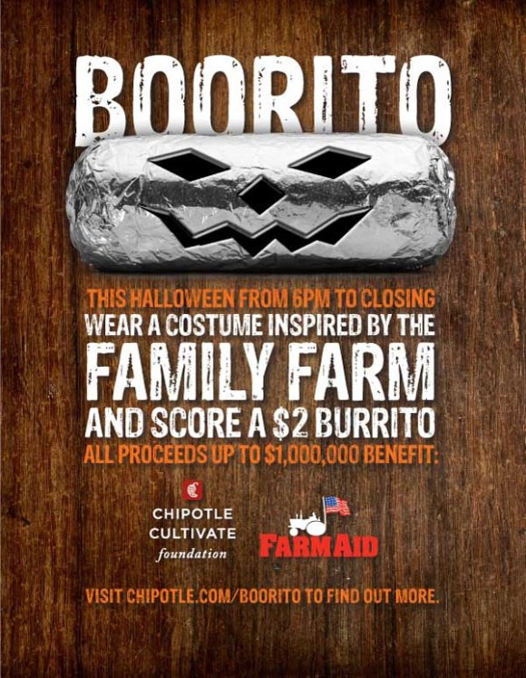 Chipotle Halloween Burritos  Boorito Wear A Costume Inspired By A Family Farm