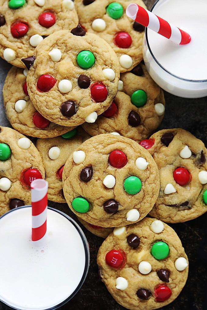 Chocolate Chip Christmas Cookies  Santa s Cookies Double Chocolate Chip M&M Cookies