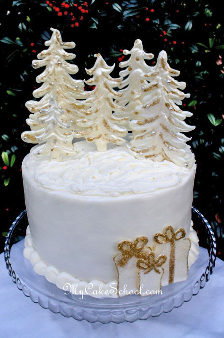 Chocolate Christmas Cake  Winter Wonderland Candy Melt Tree Accent Tutorial