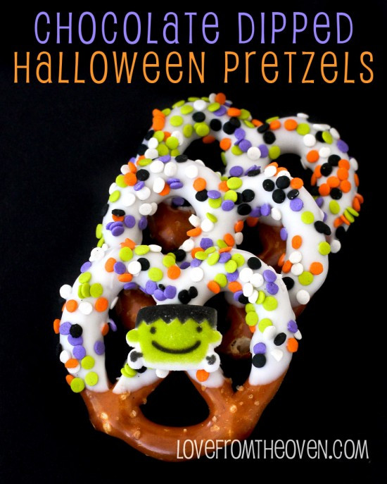 Chocolate Dipped Pretzels For Halloween  Chocolate Covered Halloween Pretzels Love From The Oven