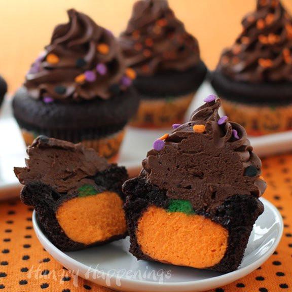 Chocolate Halloween Cupcakes  Ultimate Cheesecake Stuffed Halloween Cupcakes Hungry