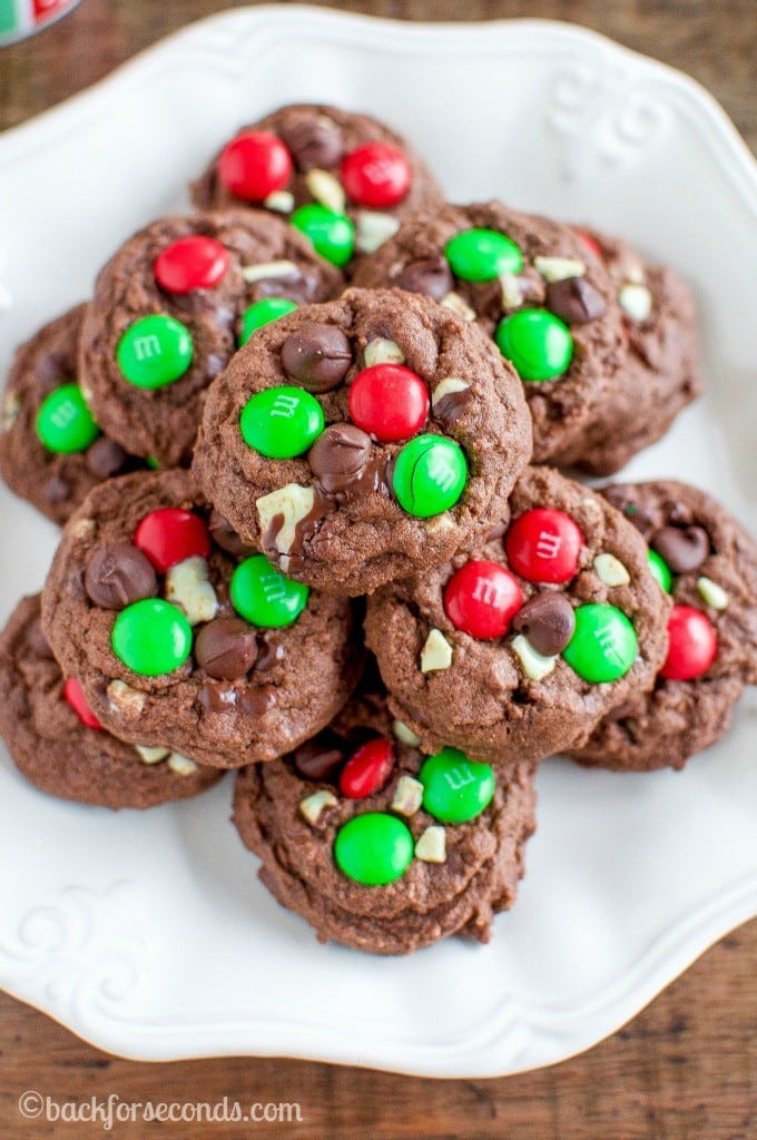 Chocolate Mint Christmas Cookies  Chocolate Peppermint M and M Cookies Back for Seconds