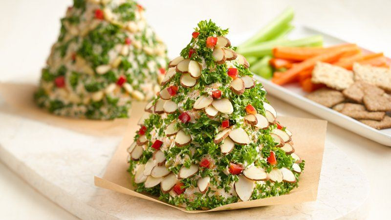 Christmas Appetizers Ideas  Holiday Tree Shaped Cheese Ball recipe from Betty Crocker