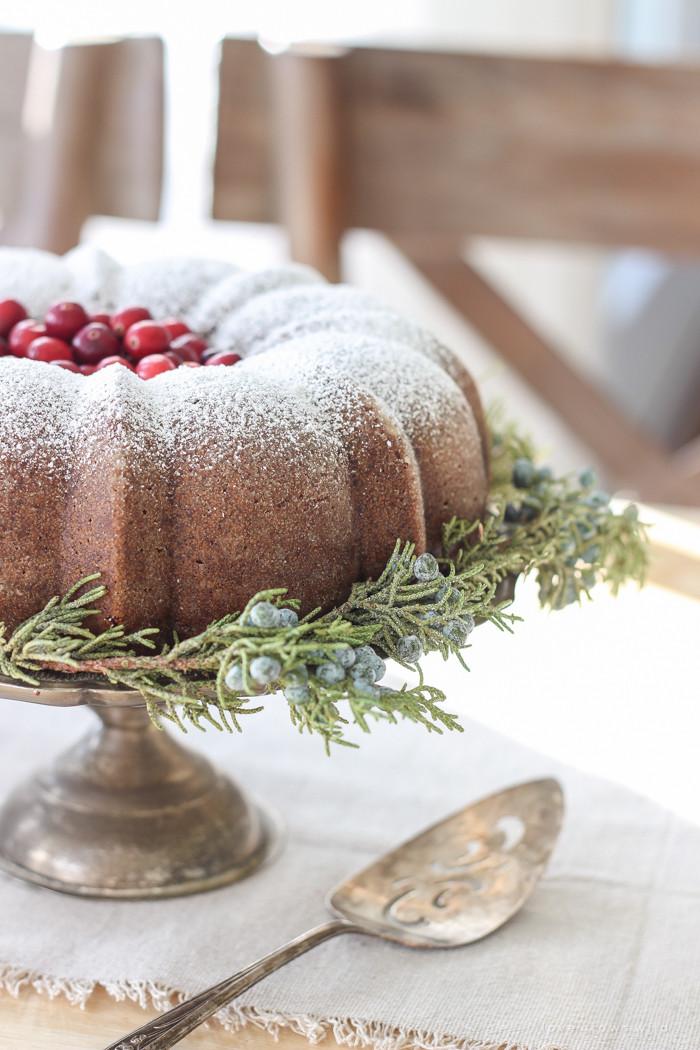 Christmas Bundt Cake  Farmhouse Christmas Kitchen Gingerbread Bundt Cake