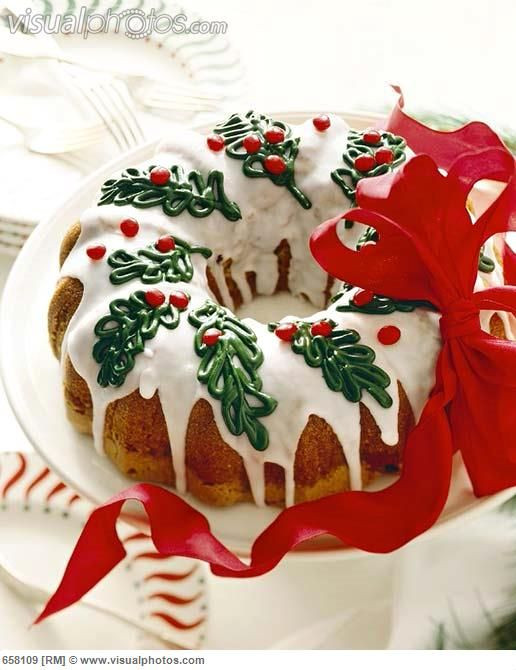 Christmas Bundt Cake  Christmas Bundt Cake with Icing and Holly Decorations