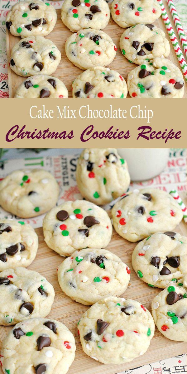 Christmas Cake Cookies  Cake Mix Chocolate Chip Christmas Cookies
