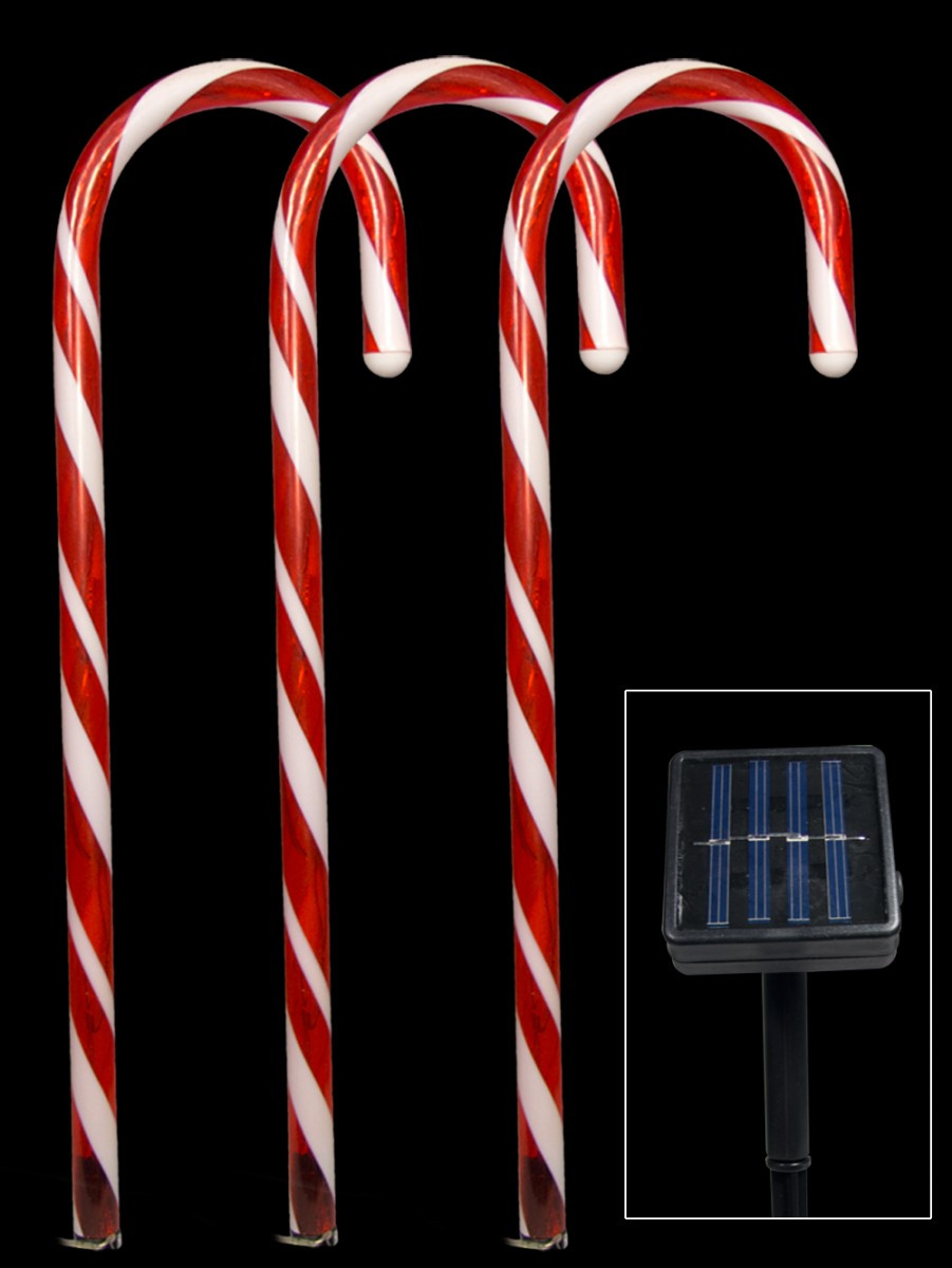 Christmas Candy Cane Lights  5 Red Led Candy Cane Solar Stake Light 54cm