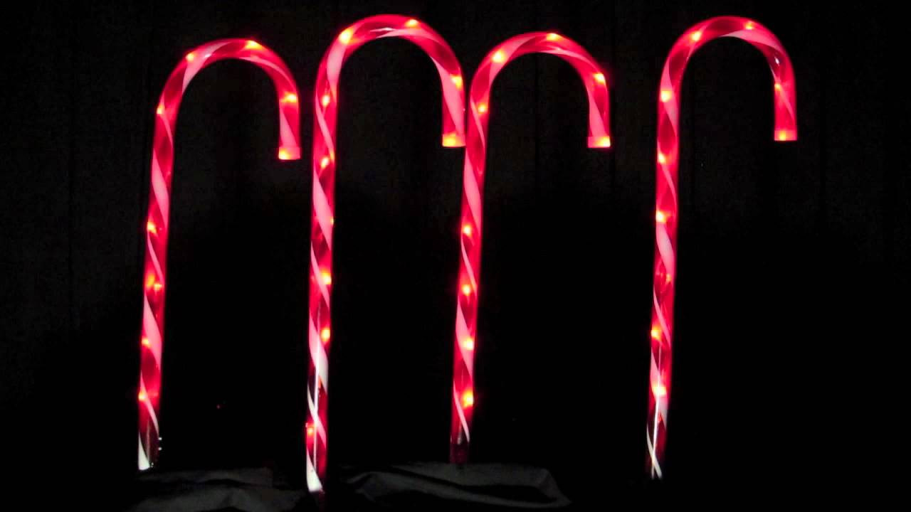 Christmas Candy Cane Lights  Stake Lights 4 LED Candy Cane Pathway Lighting