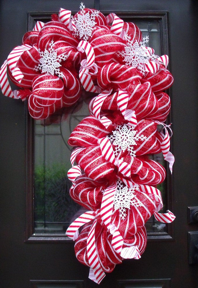 Christmas Candy Decorations  Deco Mesh Candy Cane Wreath Christmas Mesh Wreaths Christmas