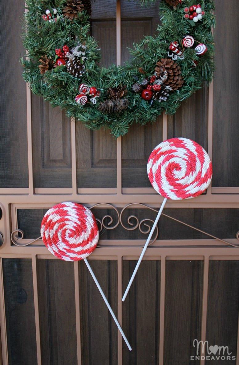 Christmas Candy Decorations  DIY Peppermint Lollipops Christmas Decor