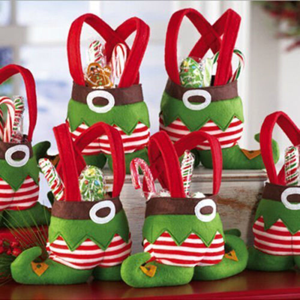Christmas Candy Favors  10 X Christmas Candy Bags Elf Bag XMAS Decorations Kids