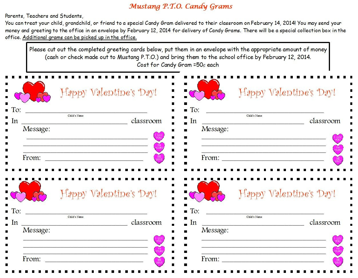 Christmas Candy Gram Template  valentine gram template