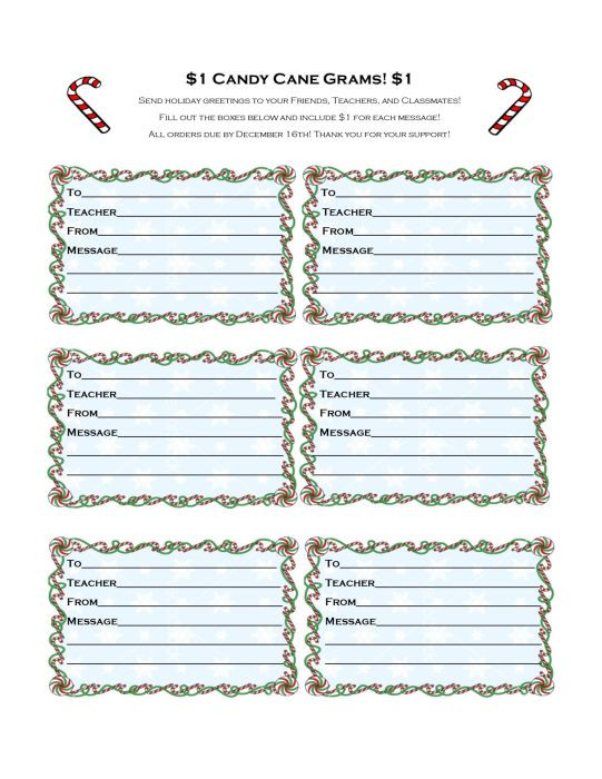 Christmas Candy Gram Template  Candy Cane Grams Order Form Projects to Try