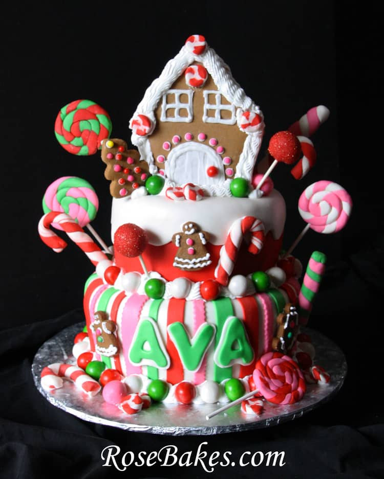 Christmas Candy House  Gingerbread House Christmas Candy Birthday Cake