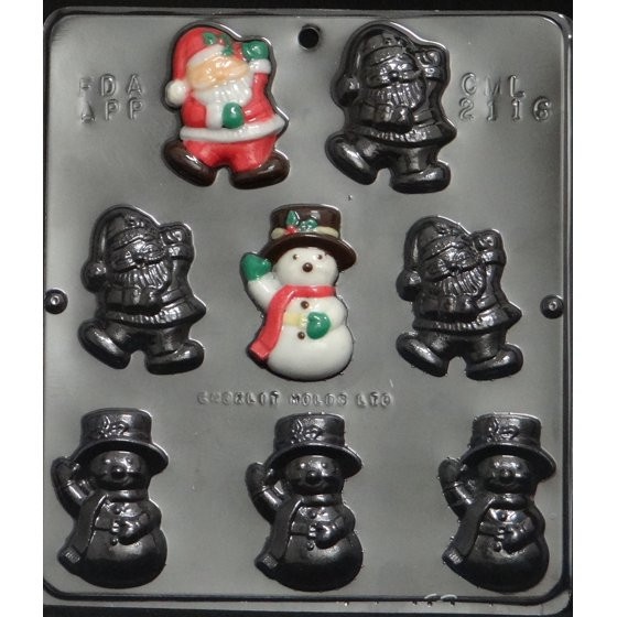 Christmas Candy Molds Walmart  2116 Santa & Snowman Pieces Chocolate Candy Mold Walmart