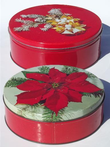 Christmas Candy Tins  lot of vintage tins old Christmas litho print candy tins