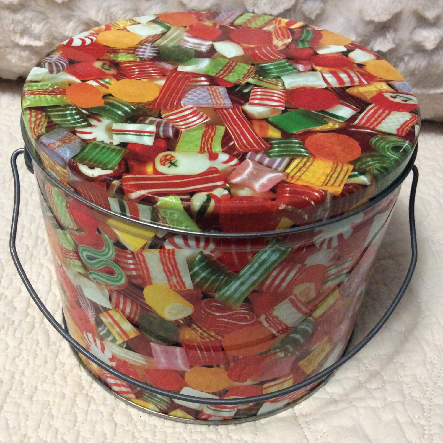 Christmas Candy Tins  Vintage Hard Candy Christmas Tin Container Pail Handle Bucket