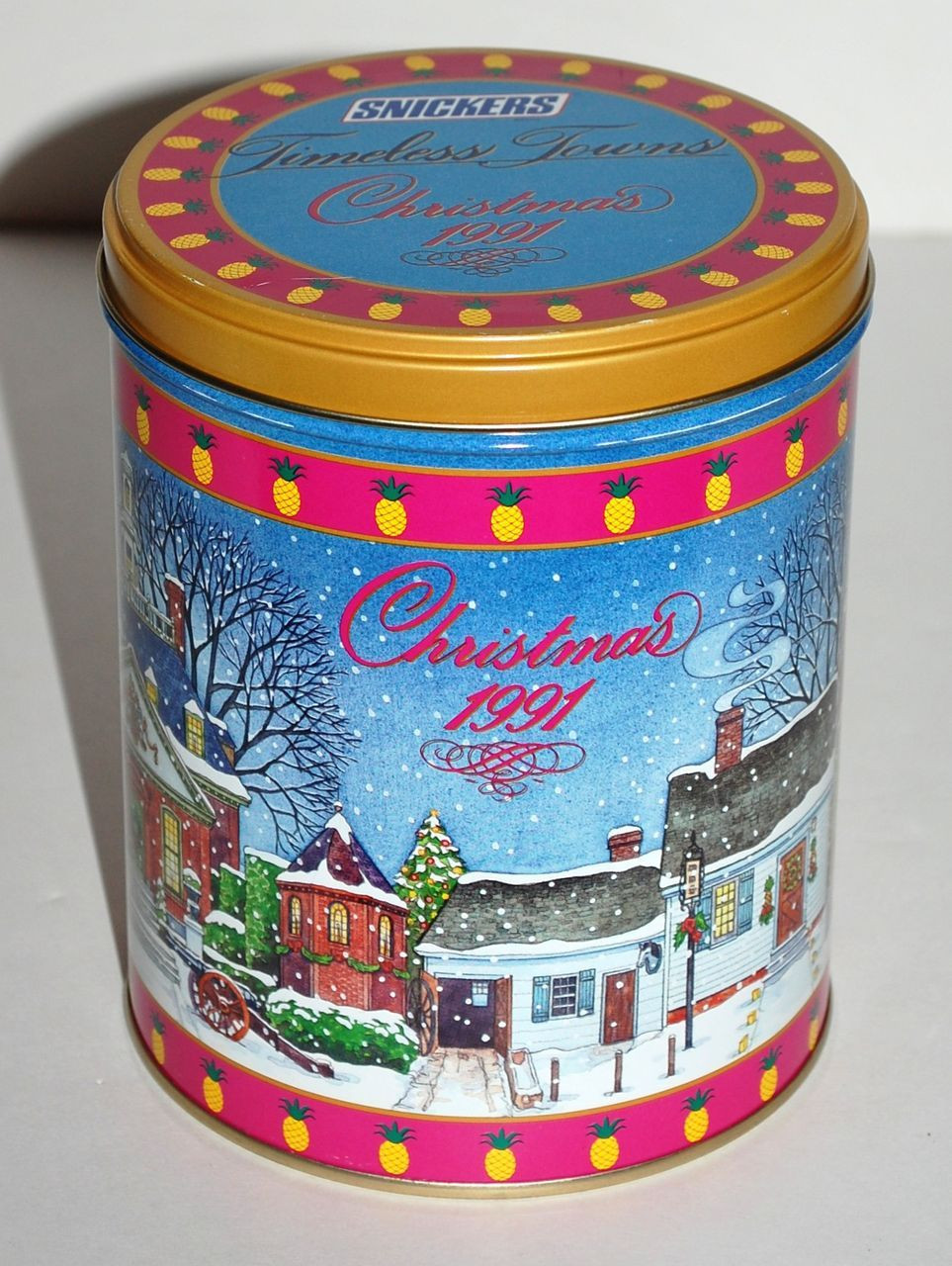 Christmas Candy Tins  1991 Snickers Timeless Towns Christmas Candy Tin from