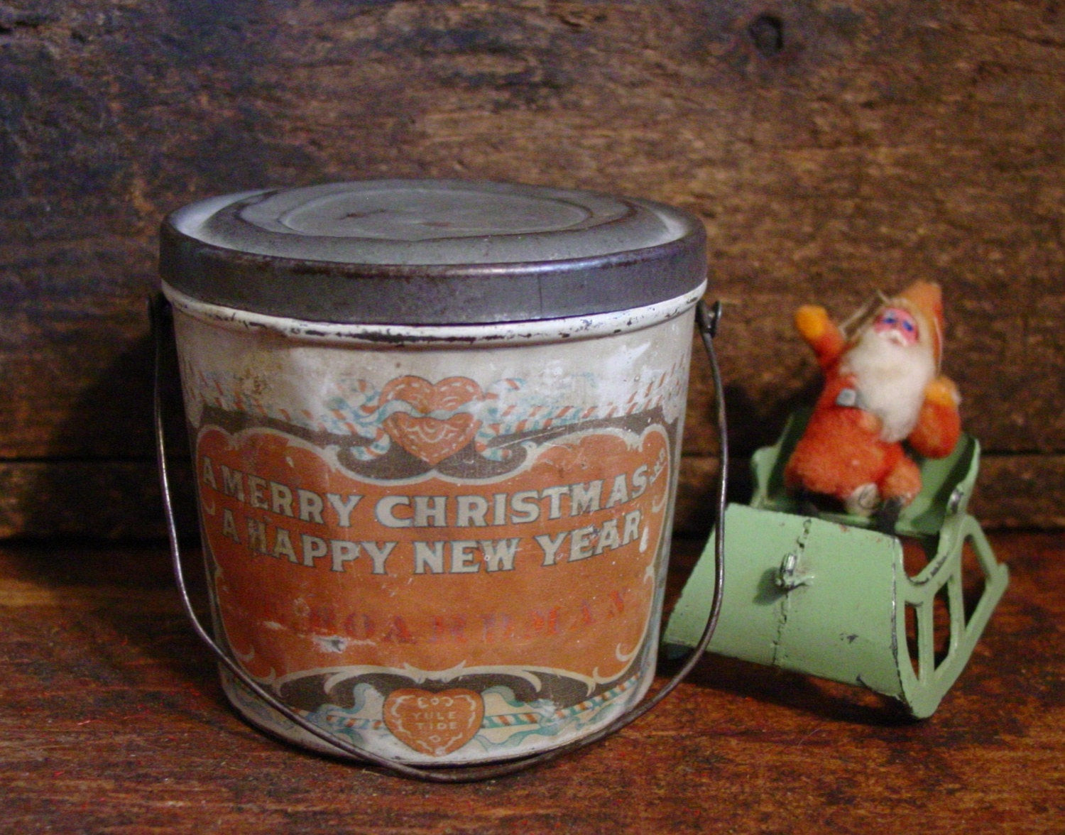 Christmas Candy Tins  Antique Tin Christmas Candy Pail Vintage Tin by