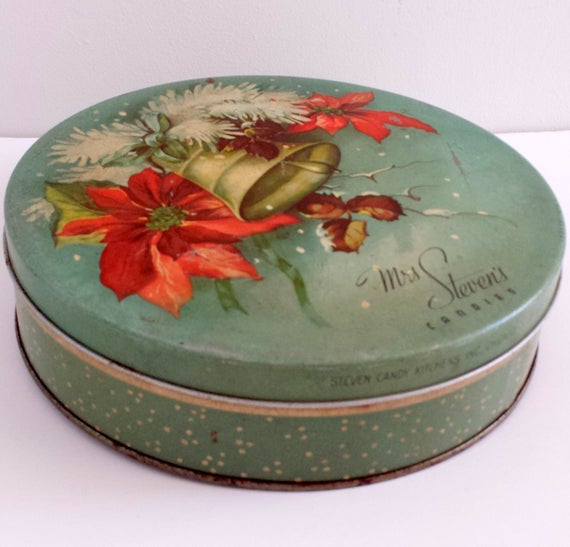 Christmas Candy Tins  Vintage Green Holiday Christmas Candy Sewing Tin Mrs Stevens