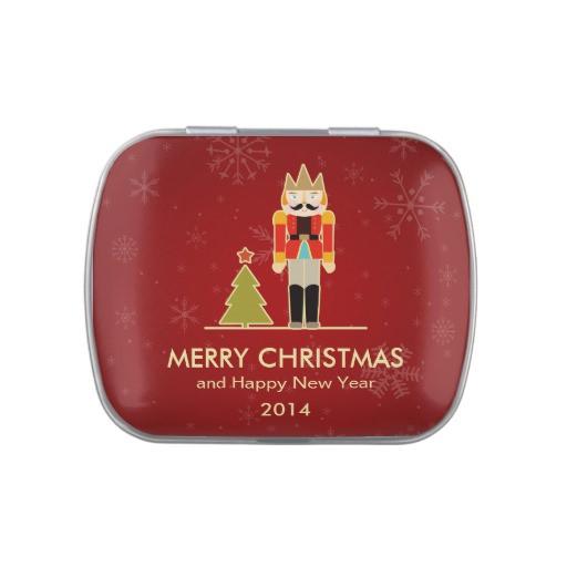 Christmas Candy Tins  Merry Christmas Nutcracker Holiday Greeting Candy Tin