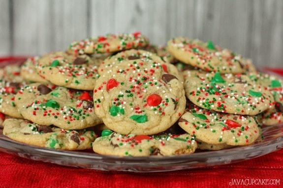 Christmas Choc Chip Cookies  Easy Holiday Chocolate Chip Cookies JavaCupcake