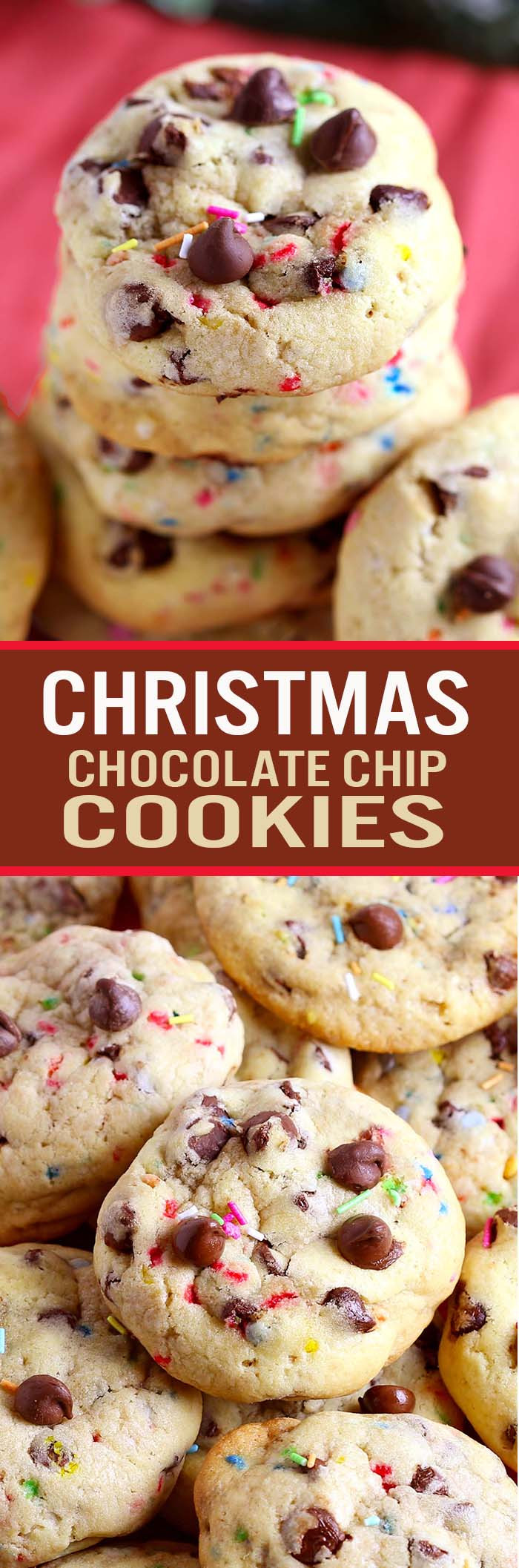 Christmas Choc Chip Cookies  Christmas Chocolate Chip Cookies Cakescottage