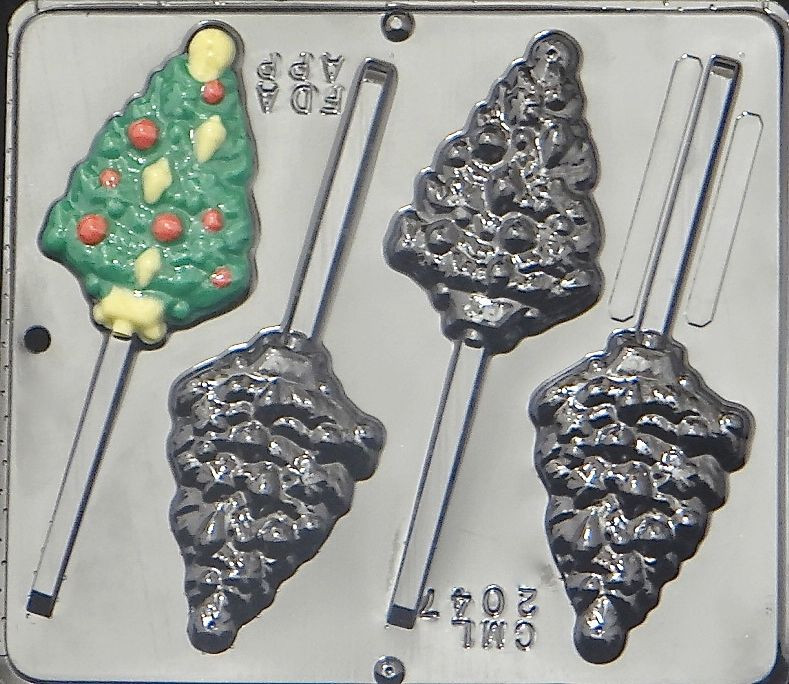 Christmas Chocolate Candy Molds  Christmas Tree with Ornaments Lollipop Chocolate Candy