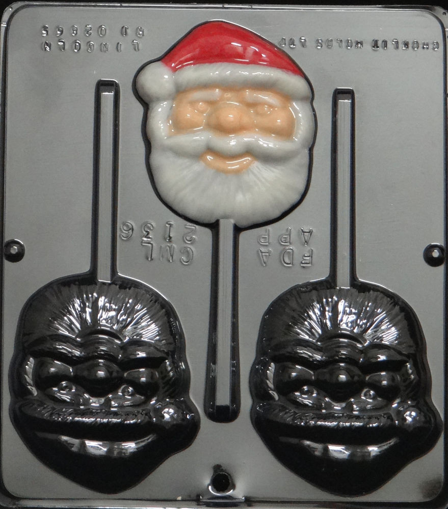 Christmas Chocolate Candy Molds  Santa Face Lollipop Chocolate Candy Mold Christmas 2136