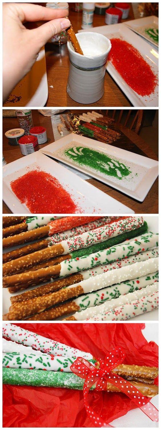 Christmas Chocolate Dipped Pretzels  Pretzel rods Pretzels and Christmas pretzels on Pinterest
