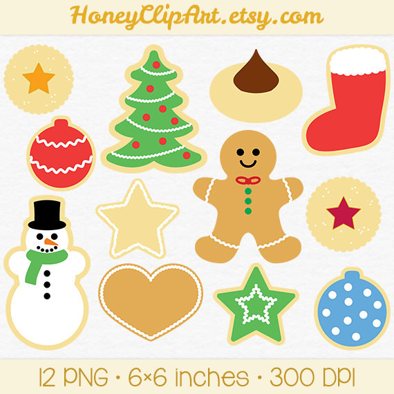 Christmas Cookies Clipart  Christmas Cookie Clip Art with Gingerbread Man Snowman