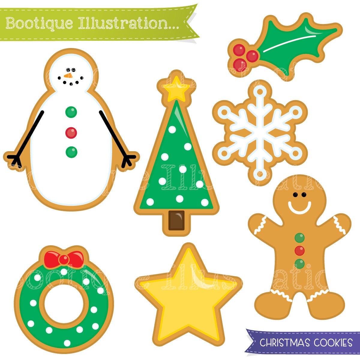 Christmas Cookies Clipart  Christmas Cookies Clipart Set Xmas Cookies Digital