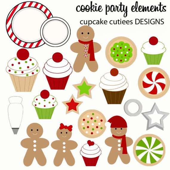 Christmas Cookies Clipart  Cookie Decorating Party Whimsical Digital Clip by
