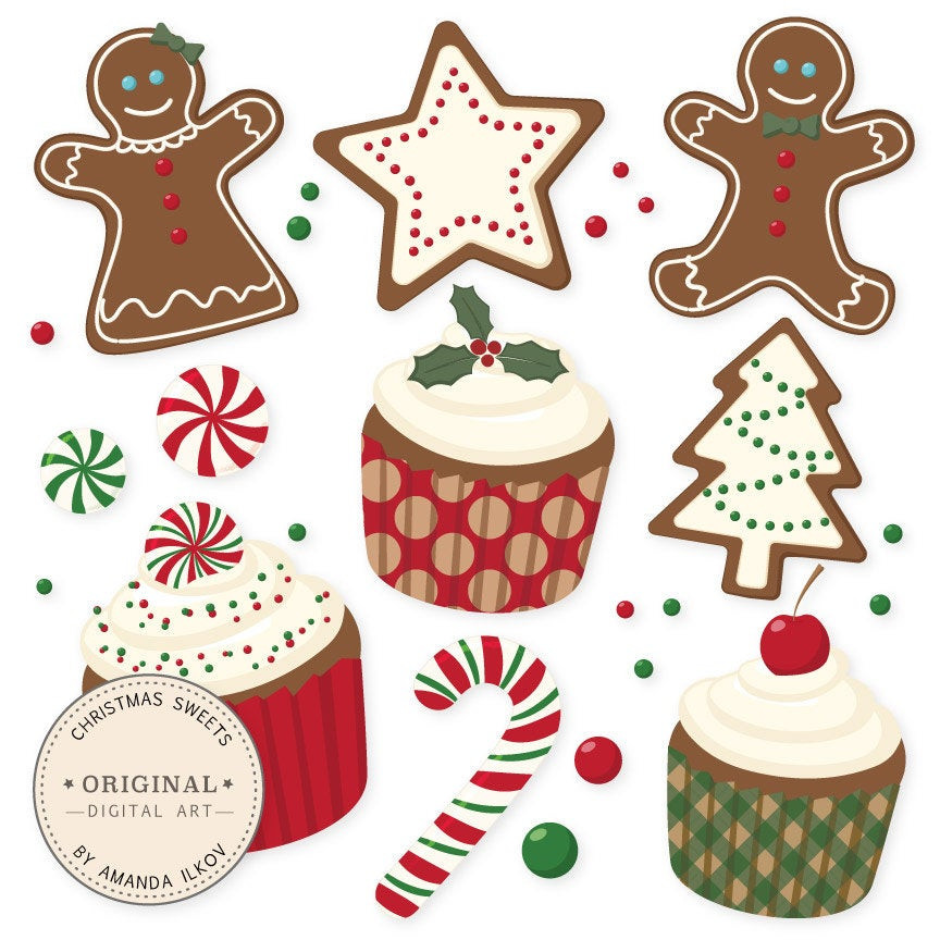 Christmas Cookies Clipart  Professional Christmas Cookies and Cupcakes Clipart & Vector