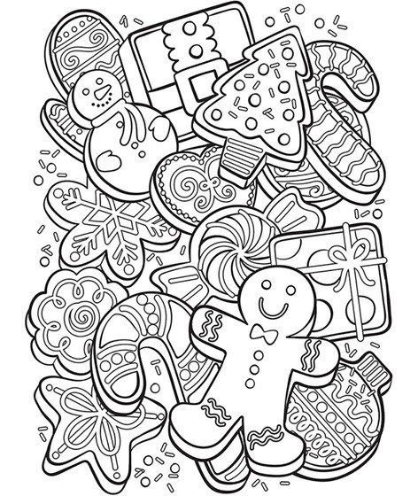 Christmas Cookies Coloring Pages  Christmas Cookie Collage Coloring Page
