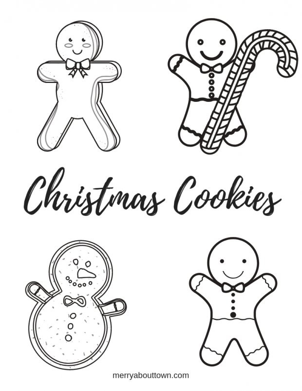 Christmas Cookies Coloring Pages  Christmas Printables Cookies Wordsearch & Coloring Sheet