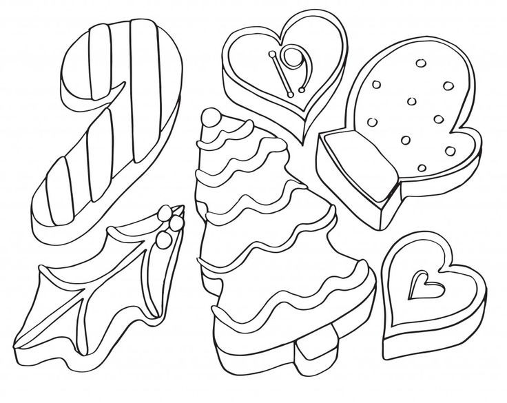 Christmas Cookies Coloring Pages  44 best Christmas coloring calendar images on Pinterest