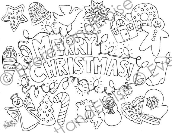 Christmas Cookies Coloring Pages  Digital Download Christmas Cookies Coloring Page