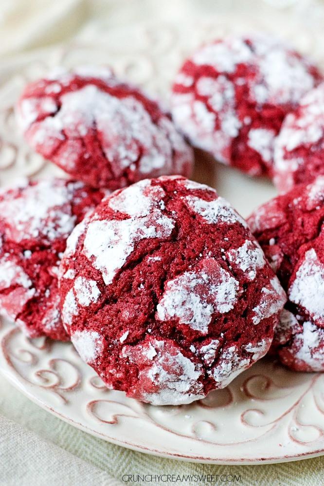 Christmas Cookies From Scratch  Red Velvet Crinkle Cookies Crunchy Creamy Sweet