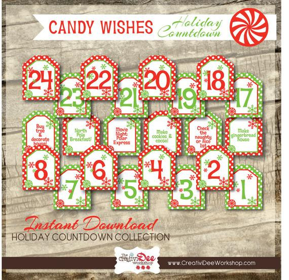 Christmas Countdown Calendar With Candy  Advent Calendar Holiday Countdown Candy Wishes Numbers
