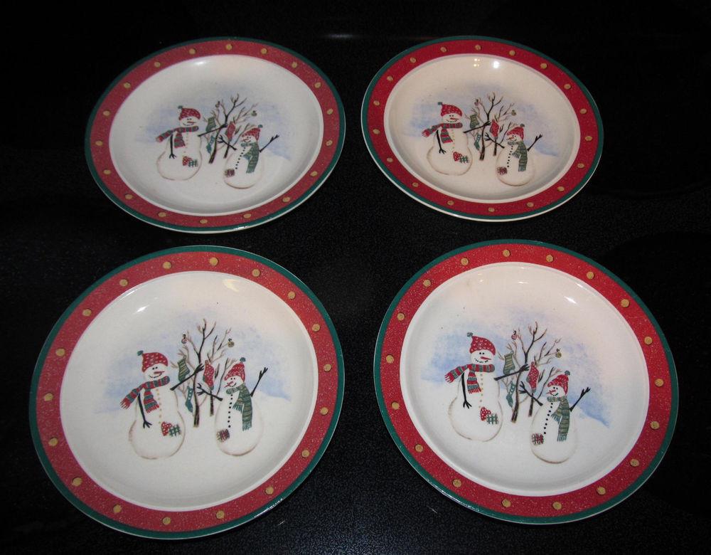 Christmas Dessert Plates  4 Royal Seasons Stoneware Bread Dessert Plates Snowman