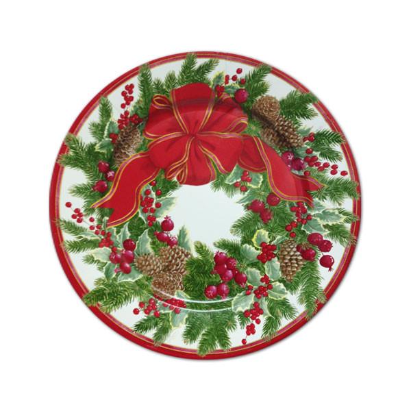 Christmas Dessert Plates  Evergreen Wreath Christmas Dessert Plates