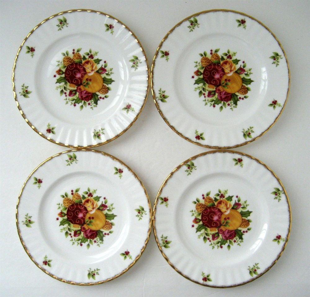 Christmas Dessert Plates  4 NEW Royal Albert Old Country Roses HOLIDAY Christmas 8