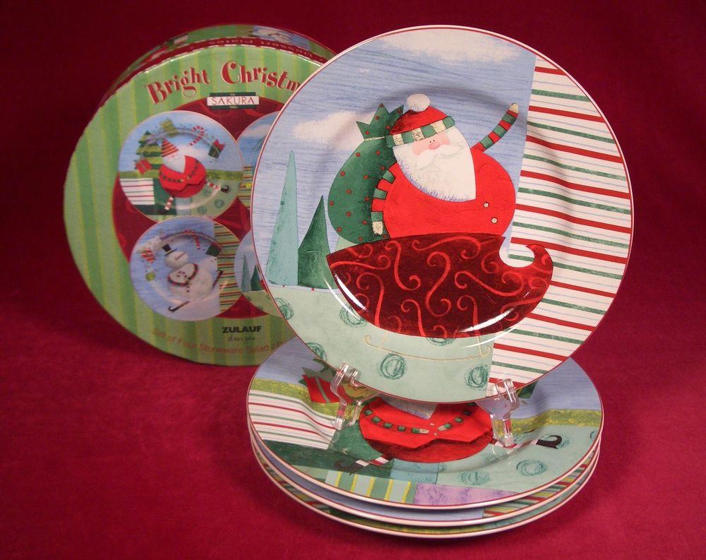 Christmas Dessert Plates  4 Sakura Bright Christmas Salad Dessert Plates Zulauf