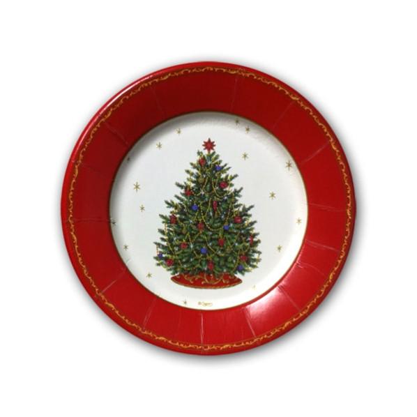 Christmas Dessert Plates  Decorated Christmas Tree Ivory Dessert Plates