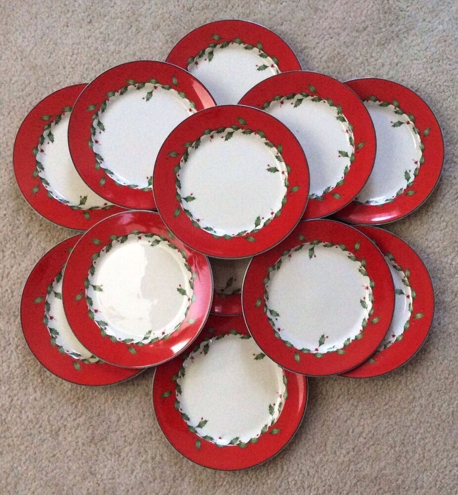 Christmas Dessert Plates  Lenox Christmas Holiday RED Dessert Salad Bread Snack