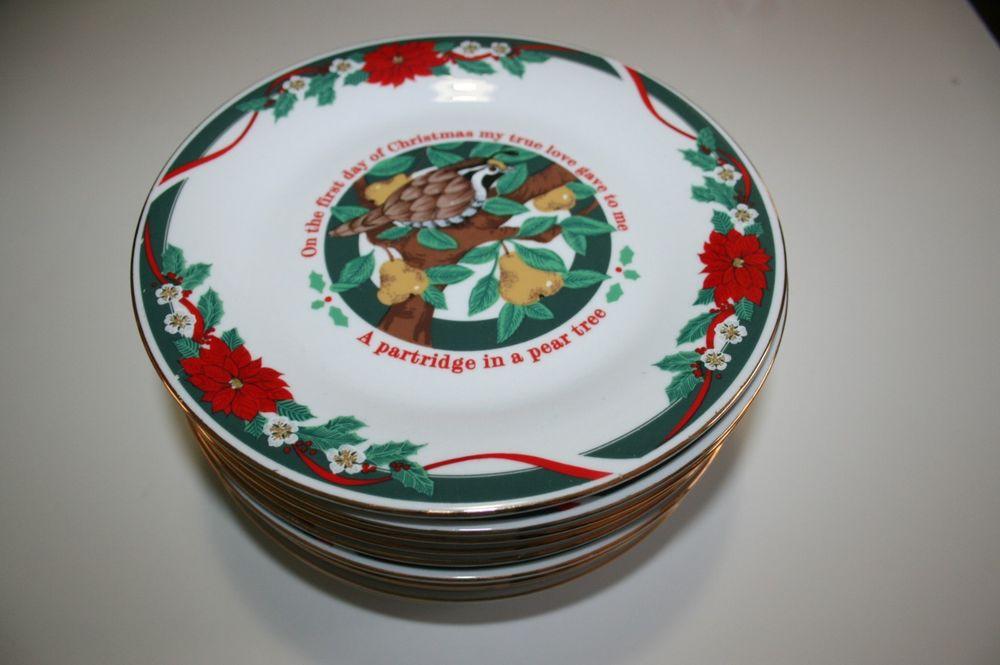 Christmas Dessert Plates  TIENSHAN SET OF 12 DECK THE HALLS 12 DAYS OF CHRISTMAS
