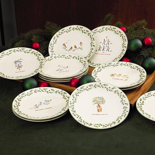 Christmas Dessert Plates  Lenox Holiday 12 Days of Christmas Dessert Plates