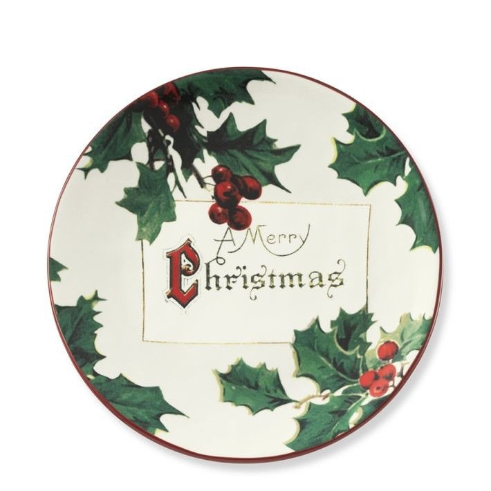 Christmas Dessert Plates  WILLIAMS SONOMA VINTAGE CHRISTMAS POSTCARD DESSERT